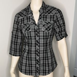 Guess Plaid Embroidered Roll Sleeve Slim Fit Shirt